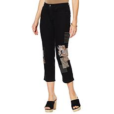 """As Is"" DG2 by Diane Gilman Classic Stretch Embroidered Cropped Jea..."