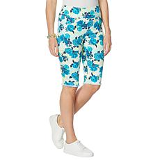 """As Is"" DG2 by Diane Gilman Classic Stretch Printed Pull-On Bermuda..."