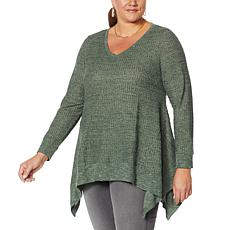 """As Is"" DG2 by Diane Gilman ""DG Downtime"" Drama Top with Combo Fabric"