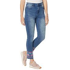 """""""As Is"""" DG2 by Diane Gilman Embellished Hem Ankle Skinny Jean"""