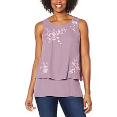 """""""As Is"""" DG2 by Diane Gilman Embroidered Easy Tank"""