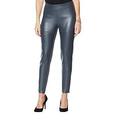 """As Is"" DG2 by Diane Gilman Faux Leather and Ponte Moto Legging"