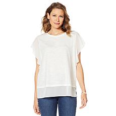 """""""As Is"""" DG2 by Diane Gilman Flutter-Sleeve Combo Tee"""