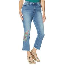 """""""As Is"""" DG2 by Diane Gilman Neon Embroidered Kick Flare Crop Jean  ..."""