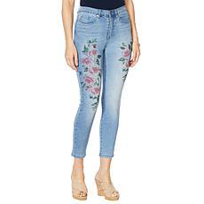 """""""As Is"""" DG2 by Diane Gilman Painted Floral Skinny Ankle Jean    - B..."""