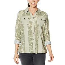 """""""As Is"""" DG2 by Diane Gilman Print/Solid Colorblock Button-Up Blouse"""