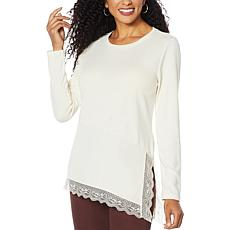 """As Is"" DG2 by Diane Gilman Ribbed Knit Asymmetric Lace-Hem Top"