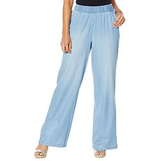 """""""As Is"""" DG2 by Diane Gilman  SoftCell Denim Wide-Leg Pant - Basic"""