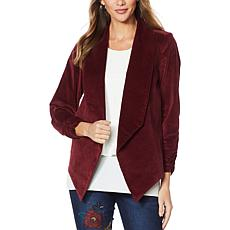 """As Is"" DG2 by Diane Gilman Stretch Velvet Open-Front Blazer"