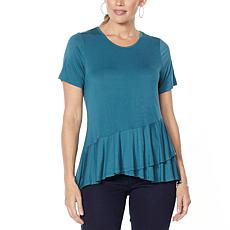 """""""As Is"""" DG2 by Diane Gilman Sustainable Bamboo Crossover Peplum Top"""