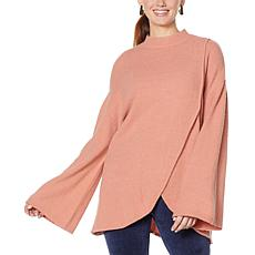 """As Is"" DG2 by Diane Gilman Tie Neck Tulip-Hem Sweater"