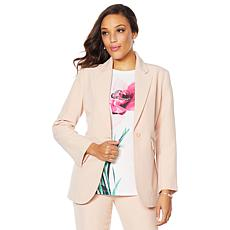 """As Is"" DG2 by Diane Gilman Wrinkle-Resistant Gabardine Blazer"