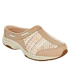"""""""As Is"""" easy spirit Travelport Leather and Fabric Mule Clog"""