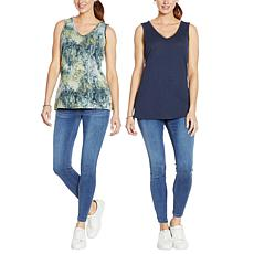 """""""As Is"""" G by Giuliana 2-pack V-Neck Knit Shell"""