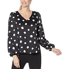 """As Is"" G by Giuliana Black Label Balloon-Sleeve Top"