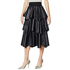 """""""As Is"""" G by Giuliana Black Label Faux Leather Ruffle Skirt"""