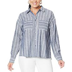 """""""As Is"""" G by Giuliana Button-Down Pinstripe Top"""