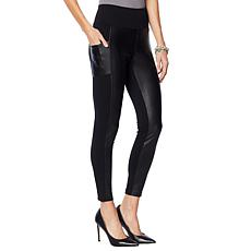 """As Is"" G by Giuliana Faux Leather and Ponte Legging"