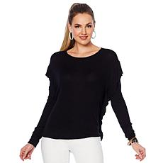 """As Is"" G by Giuliana Hacci Knit Ruffle-Sleeve Top"