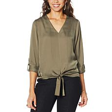"""""""As Is"""" G by Giuliana Hammered Satin Tie-Front Blouse"""