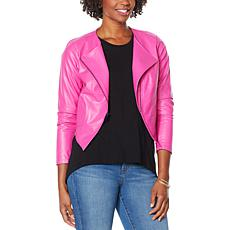 """As Is"" G by Giuliana Lightweight Faux Leather Moto Jacket"