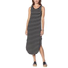 """""""As Is"""" G by Giuliana LounGy EcoLuxe Striped Cutout Tank Dress"""