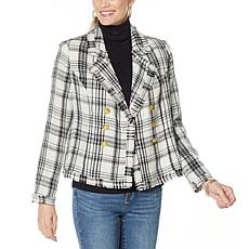"""As Is"" G by Giuliana Pieced Novelty Plaid Tweed Blazer"