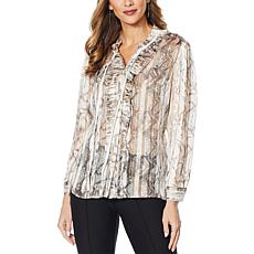"""As Is"" G by Giuliana Printed Shadow Stripe Ruffle Blouse"