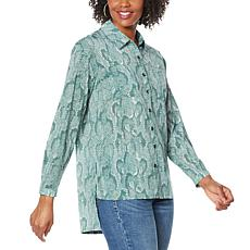 """""""As Is"""" G by Giuliana Snake-Print Button-Front Shirt"""