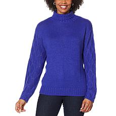 """As Is"" G by Giuliana Textured-Sleeve Turtleneck Sweater"