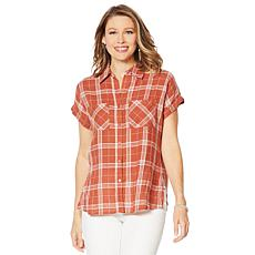 """""""As Is"""" G by Giuliana Woven Plaid Button-Down Top"""