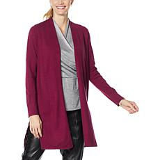 """""""As Is"""" H Halston Long-Sleeve Mixed Media Sweater Cardigan"""