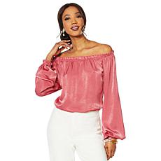 """As Is"" Heidi Daus Essential Styles Off-Shoulder Satin Top"