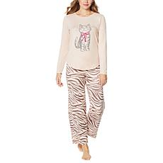 """As Is"" HUE 2-piece Cozy Knit Novelty Pajama Set"