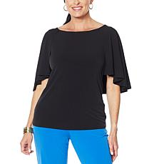 """""""As Is"""" IMAN City Chic Cape-Sleeve Top with Keyhole Back"""
