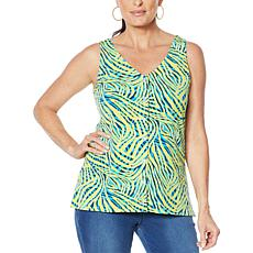 """""""As Is"""" IMAN Global Chic Button Front Print/Solid Reversible Tank"""