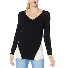 """As Is"" IMAN Global Chic Colorblock V-Neck Pullover Sweater"