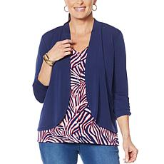 """""""As Is"""" IMAN Global Chic Drape Front Cardigan"""