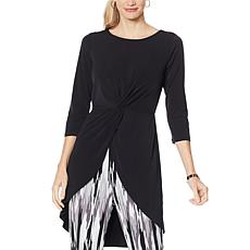 """As Is"" IMAN Global Chic Hi-Low Drama Top with Twist Detail"