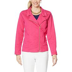 """As Is"" IMAN Global Chic Illusion Denim™ Moto Jacket"