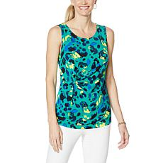 """As Is"" IMAN Global Chic Knot-Front Printed Tank"