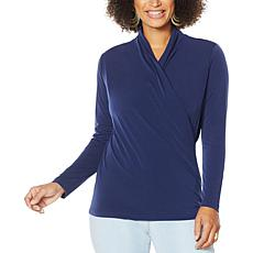 """As Is"" IMAN Global Chic Long-Sleeve Drape-Neck Top"