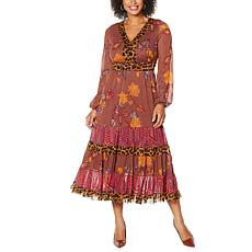 """As Is"" IMAN Global Chic Long-Sleeve Mesh Midi Dress"