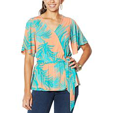 """""""As Is"""" IMAN Global Chic Luxury Resort Faux Wrap Blouse"""