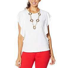 """As Is"" IMAN Global Chic Luxury Resort Flutter Sleeve Top"
