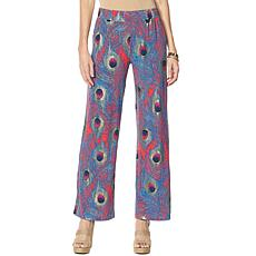 """As Is"" IMAN Global Chic Luxury Resort Peacock-Print Palazzo Pant"