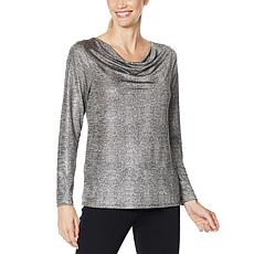 """As Is"" IMAN Global Chic Printed Foil Jersey Cowl-Neck Top"