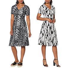 """As Is"" IMAN Global Chic Reversible Short-Sleeve Dress"