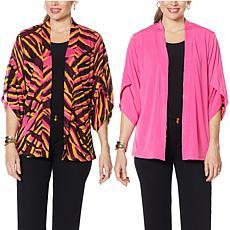 """As Is"" IMAN Global Chic Reversible Tulip-Sleeve Kimono Topper"