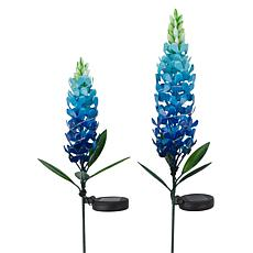 """As Is"" Improvements Solar Flower Stakes Set of 2"